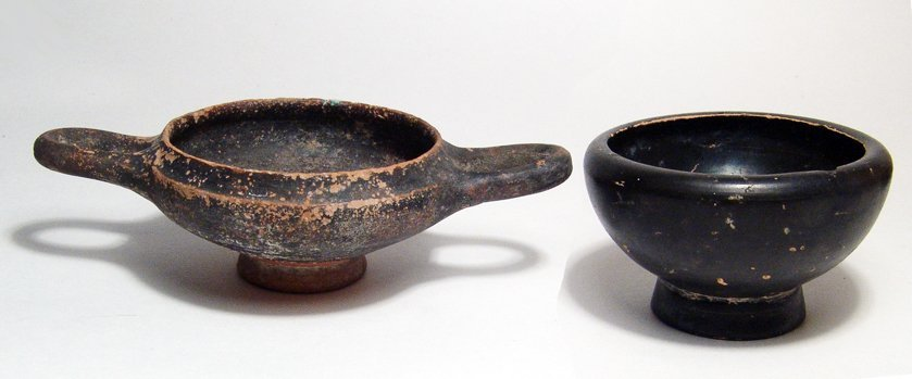 223: Pair of Greek black-ware pottery vessels