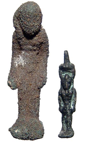 2: 2 bronze Egyptian amulets, Ex Negus collection