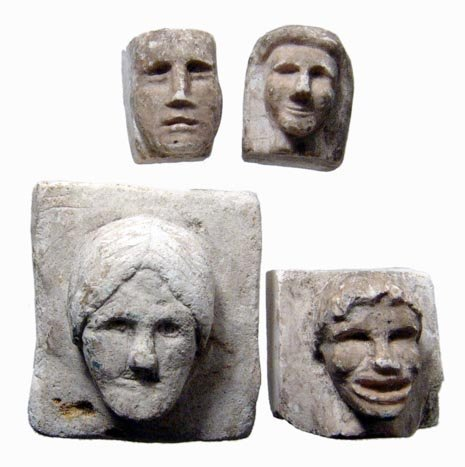 4: 4 plaster sculptor model faces, Ptolemaic Egypt