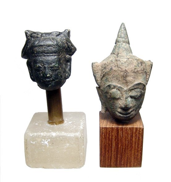 15: 2 bronze heads, Buddha & Bodhisattva, Thailand