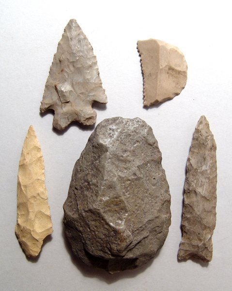 1: 5 Egyptian Pre-Dynastic tools, ex Alex Malloy, 1979