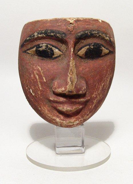 14: Egyptian wood mummy mask, Ex Alex Malloy