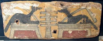 18 Egyptian painted wood panel Ex Alex Malloy