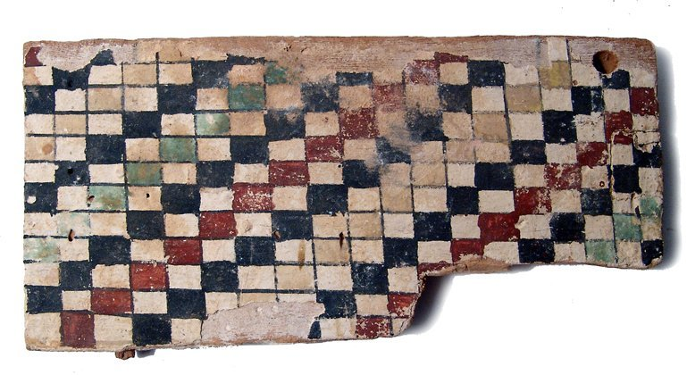 20: Late Period painted wood panel, checkered design