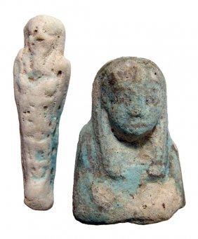 5: 2 Egyptian ushabtis, New Kingdom to Late Period