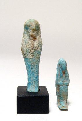 6: 2 Egyptian faience ushabtis, Late Period