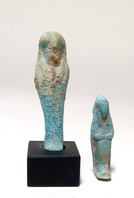 6: 2 Egyptian faience ushabtis, Late Period