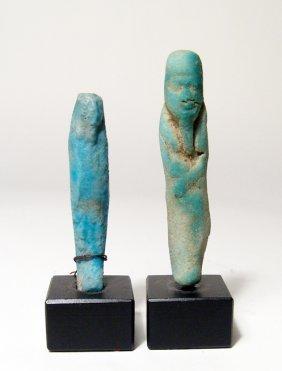 2 Egyptian Faience Ushabtis, Ptolemaic Period