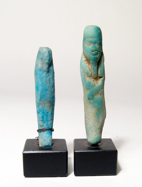 7: 2 Egyptian faience ushabtis, Ptolemaic period