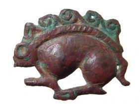 22: Persian bronze antelope relief, Ex Royal Athena