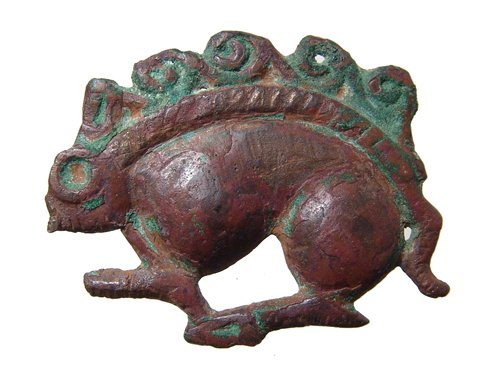 22: Persian bronze antelope relief, Ex Royal Athena