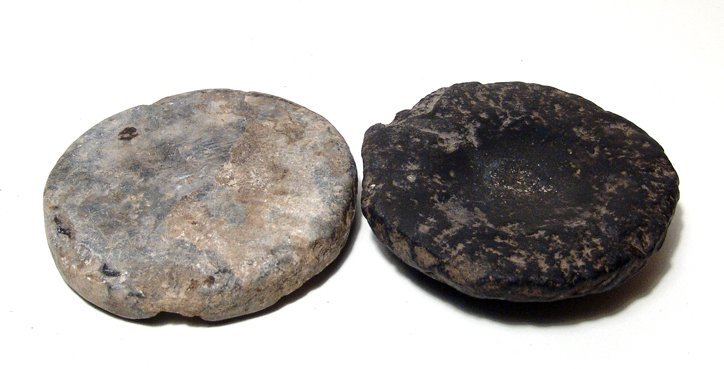2 Egyptian grinding stones, Old Kingdom
