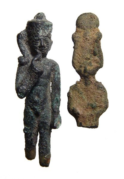 Lot of 2 Egyptian bronzes, Late Period