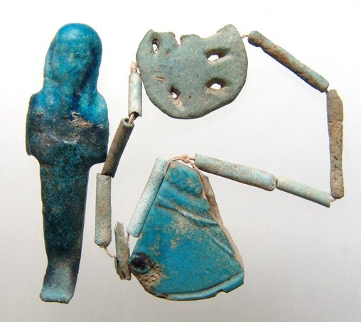 Pair of Egyptian faience items