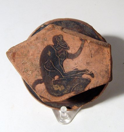 Athenian Black-Figure Kylix fragment with satyr