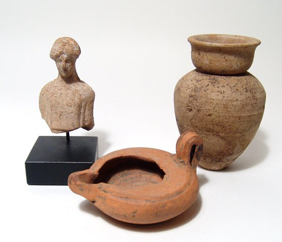Group of ancient ceramic items