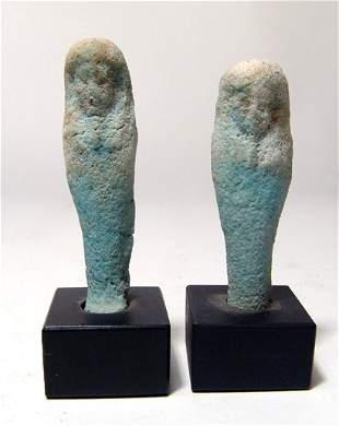 Lot of 2 Egyptian faience ushabtis