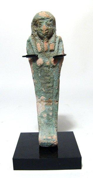 Egyptian blue-green faience ushabti