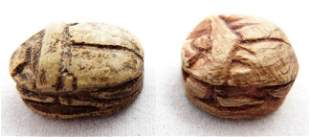 Lot of 2 Egyptian scarabs, Late Period