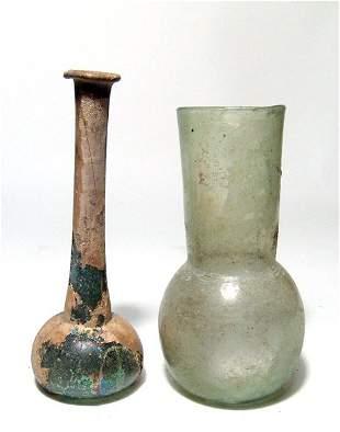 2 Roman glass bottles. Ex Royal Athena Galleries