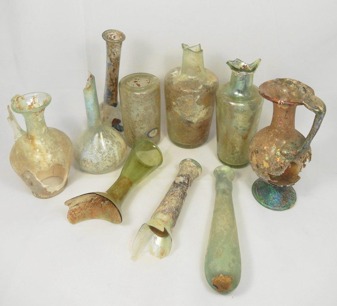 Group of 10 Roman Glass Vessels