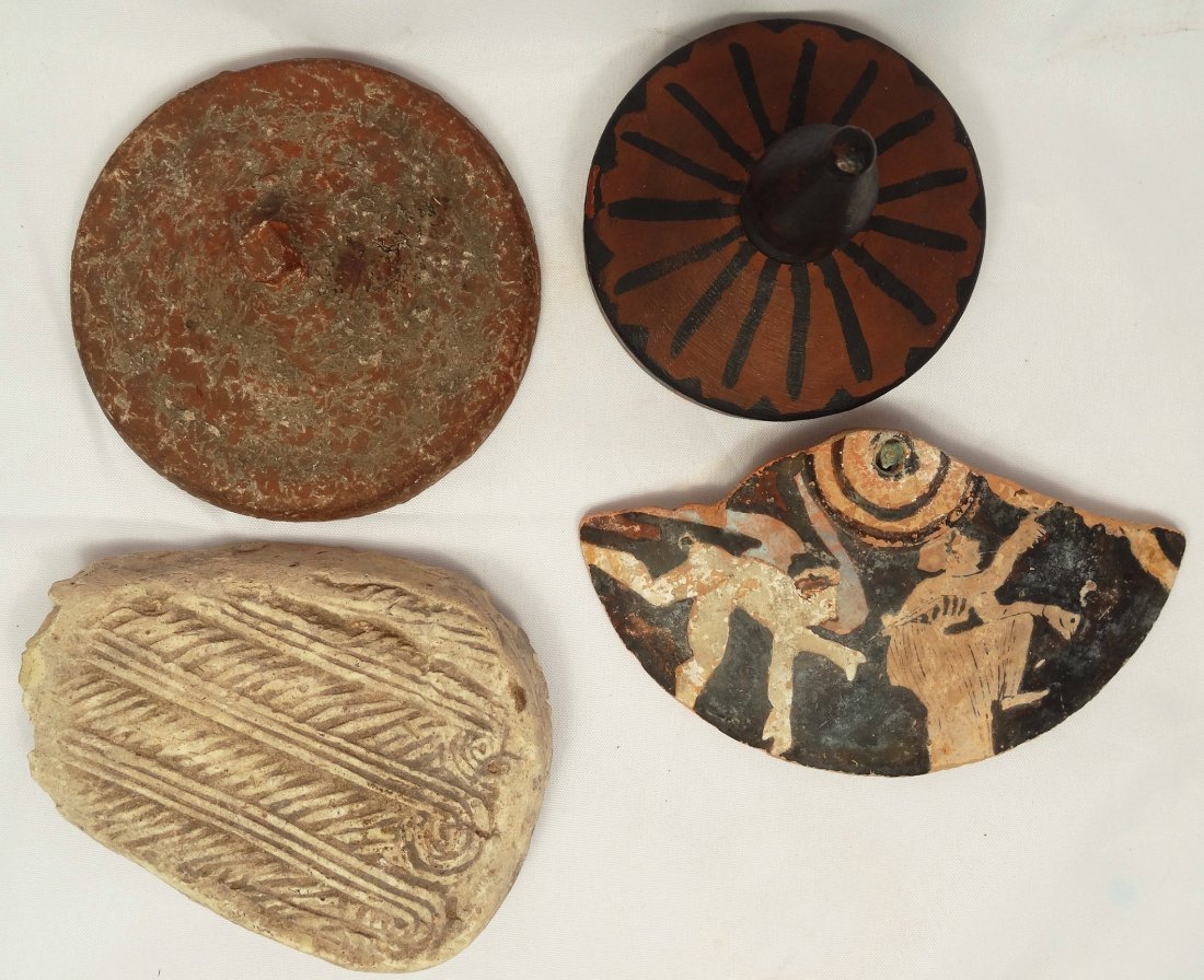 Group of 3 pottery lids and a Roman decoration