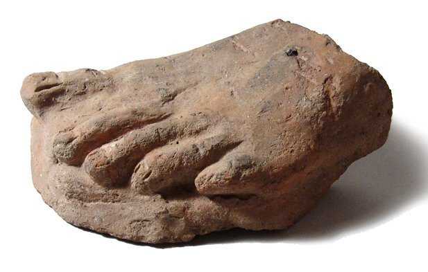 A life-size Etruscan terracotta foot