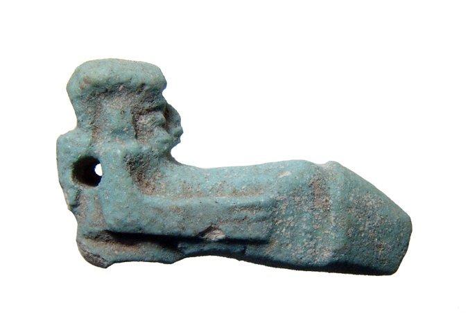 Egyptian pale blue Faience Ithyphallic Amulet