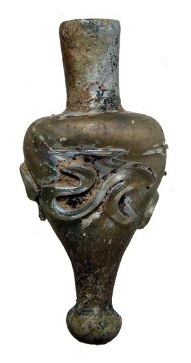 Nice Late Roman glass cosmetic vial with trailing