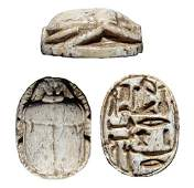 A nicely carved Egyptian steatite scarab