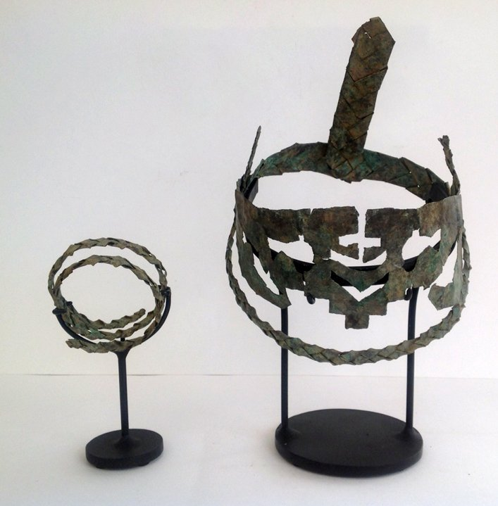 A rare Byzantine bronze tiara and bracelet