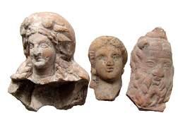 3 Greek Hellenistic terracotta heads