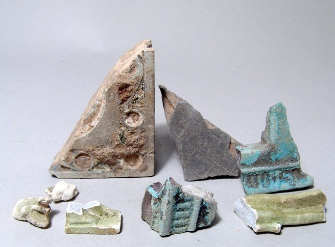 Lot of 8 Egyptian Faience Fragments