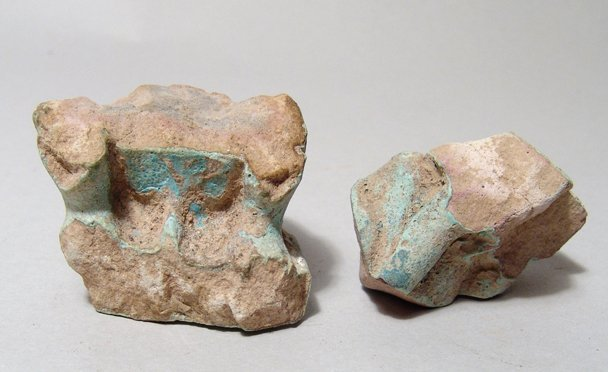 Lot of 2 Egyptian Faience Bases of Thoth Figures