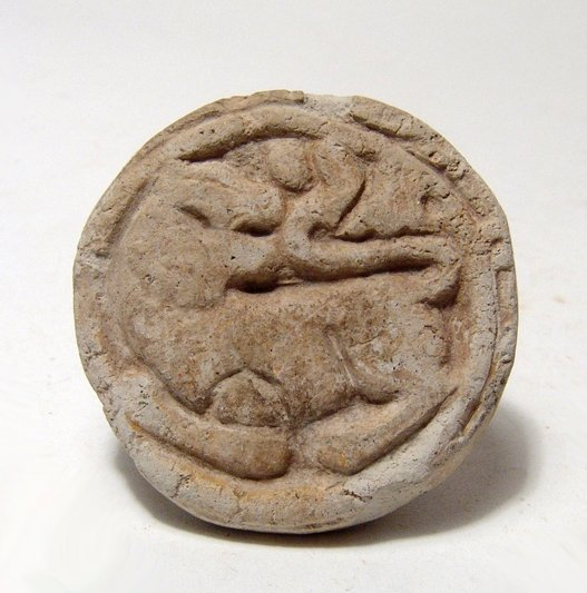 Near Eastern terracotta lion stamp seal