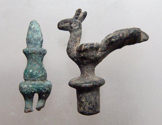 Lot of 2 Roman/Byzantine bronze finials