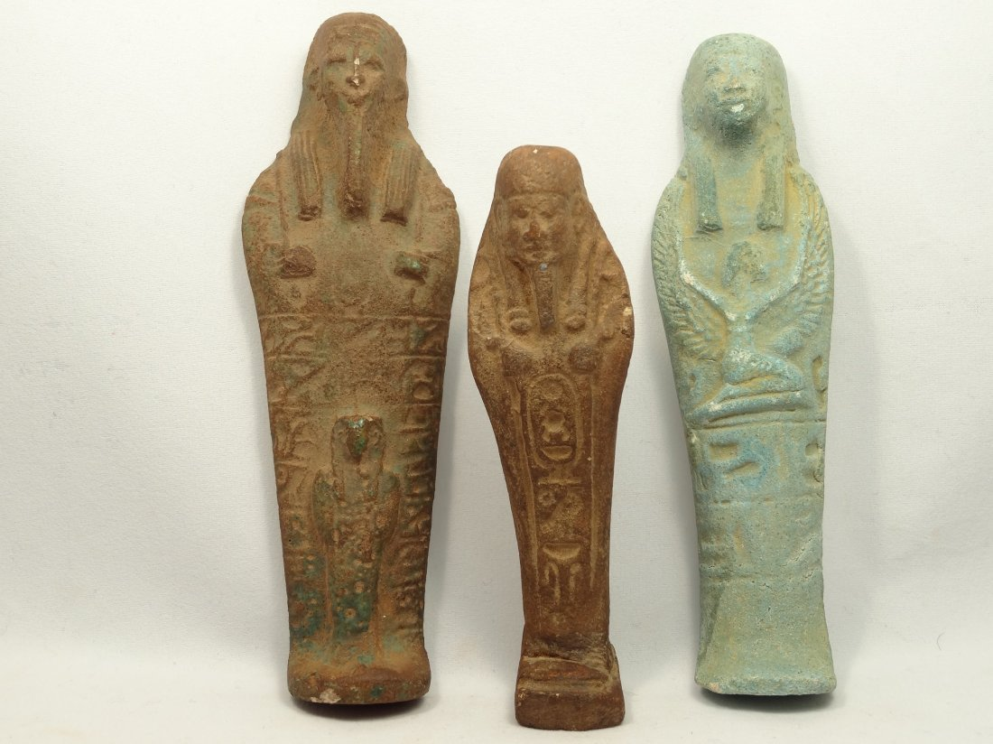 3 Egyptian-style faience ushabtis