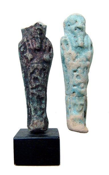 2 Egyptian faience ushabtis, Ex Royal Athena