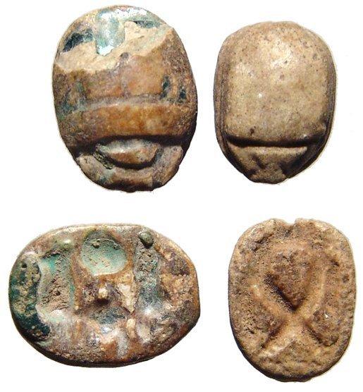 Pair of Egyptian scarabs, Ex Royal Athena