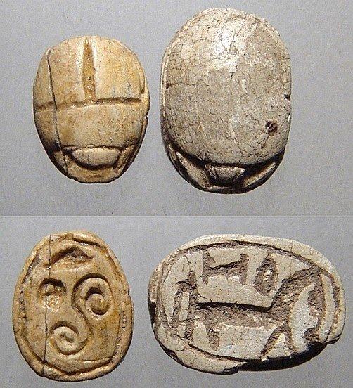 2 Egyptian steatite scarabs, Ex Royal Athena