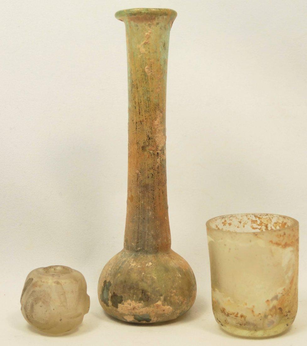 Lot of 3 Roman glass vessels
