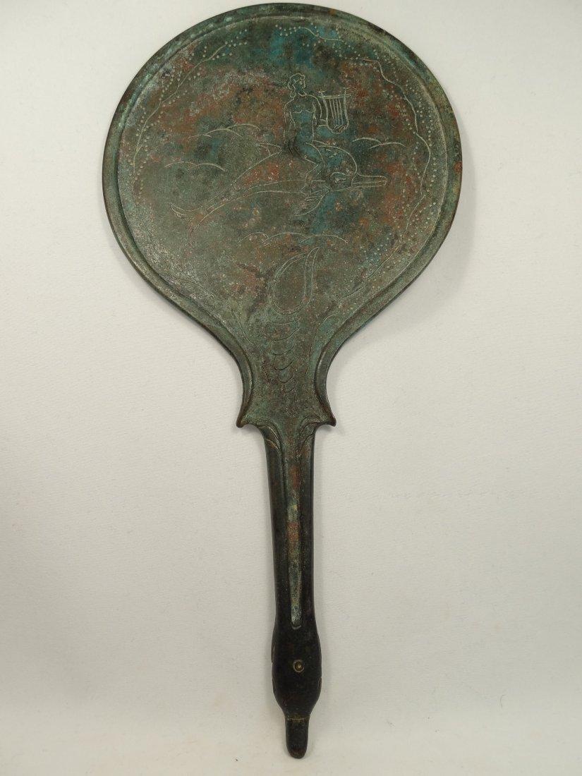 Renaissance era Etruscan style mirror with engraving
