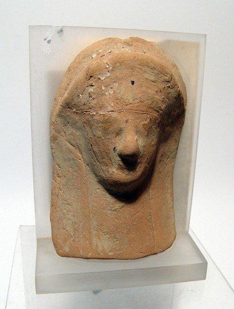 Greek terracotta female head protome