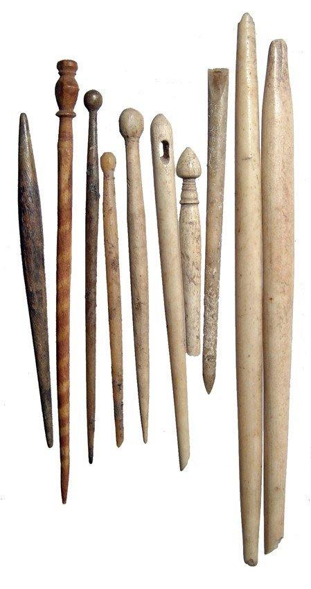 Group of 10 Roman bone hairpins and styluses