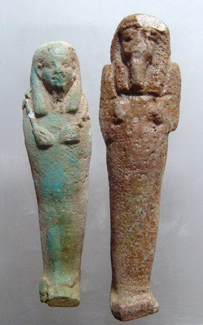 A pair of Egyptian faience ushabtis