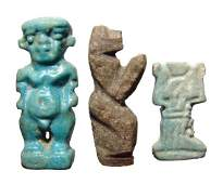 A lot of 3 nice Egyptian amulets, Late Period
