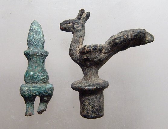 Lot of 2 Roman/Byzantine bronze finials