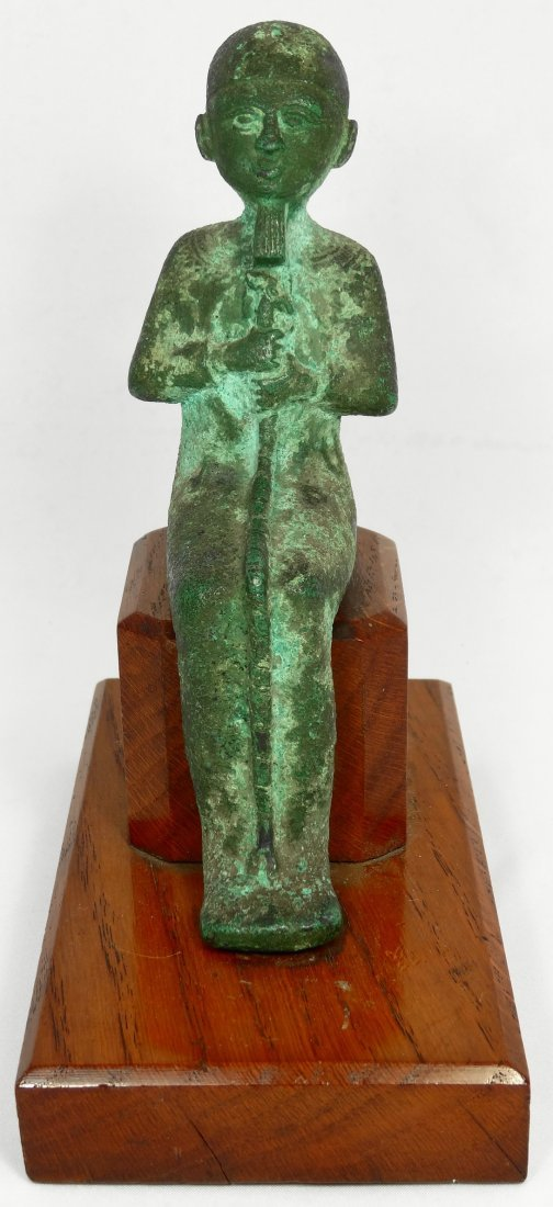 An interesting Egyptian bronze seated figure of Ptah