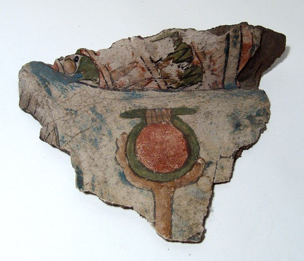 Egyptian painted cartonnage fragment