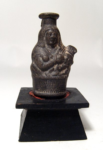 Egyptian terracotta black-ware bottle